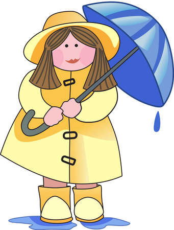 This is a beautiful girl with her umbrella and sure to bring a smile to a gardener.   Иллюстрация
