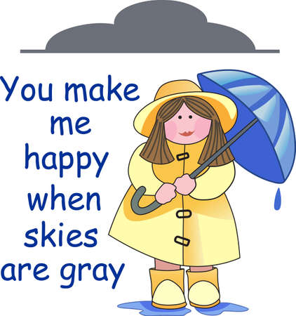slicker: This is a beautiful girl with her umbrella and sure to bring a smile to a gardener.  Illustration