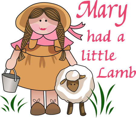 peasant: Use this cute lamb and girl design for a lovely gift.