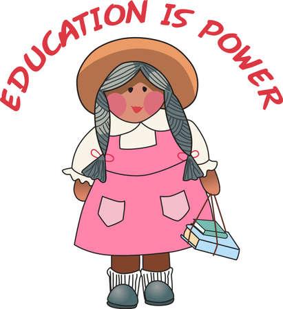 Gebruik dit schattige meisje ontwerp voor een mooie gift voor een leraar. Stock Illustratie