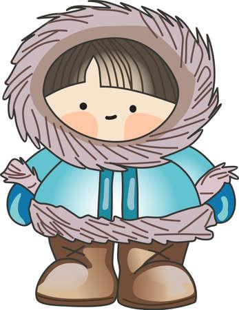 Dit Eskimo is de perfecte winter ontwerp voor kinderen.