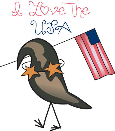 five star: Celebrate our freedom on July 4th with this cute crow!  Perfect on items for family and friends to celebrate this day.  They will love it! Illustration