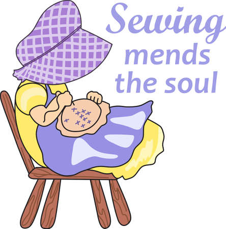 This is a beautiful design of a little girl sewing.  Perfect for a girl.