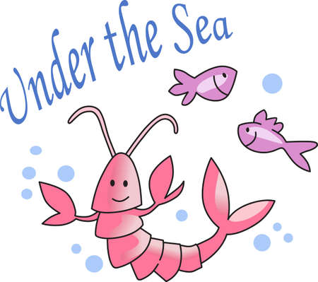 marine crustaceans: This cute little lobster and fish are perfect to take to the beach or perfect for childs room.  Give as a gift.  They will love it! Illustration