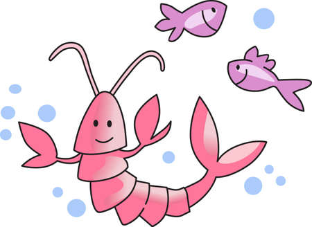 This cute little lobster and fish are perfect to take to the beach or perfect for childs room.  Give as a gift.  They will love it! Ilustração