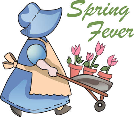 This is a beautiful design of a little girl gardening.  Perfect for a girl.