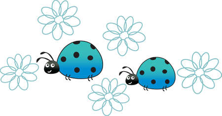 This a beautiful design of ladybugs and daisies will be beautiful to add to a shirt or vest. Ilustracja