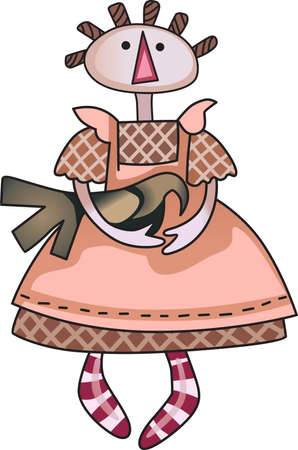 rag doll: This cute rag doll design is perfect to be cherished by a loved one.   Illustration