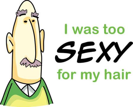 Ik ben te sexy voor mijn haar. Wat was hier vandaag morgen zal worden gegaan. Krijg deze leuke cartoons van Great Notions. Stock Illustratie