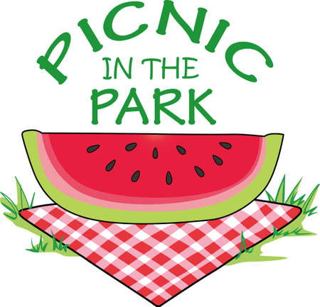 A campers dining room is a picnic table at a park.  Take this great slice of watermelon with you on your next family camp out.  Everyone will love it!