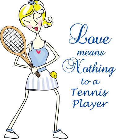테니스 게임을 좋아하는 특별한 테니스 선수를 생각 나게하십시오. 테니스를 함께하는 것을 좋아하는 커플에게 딱! 스톡 콘텐츠 - 44960318