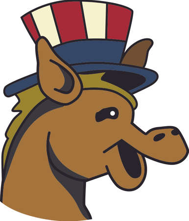 mule: Support your political party at the next election with this cute design. Illustration