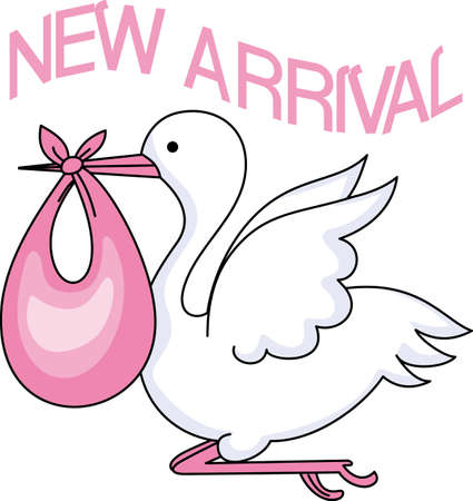 The stork makes a special delivery to mom and dad.  This is the perfect design to welcome baby home.  Everyone will love it!