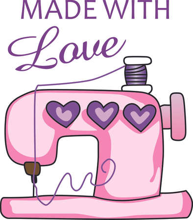 stitching machine: The seamstress or quilter in your family spends lots of time sewing holes, buttons and making beautiful items.  This design is perfect for them! They will love it! Illustration