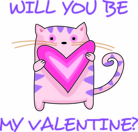st valentine s day: Send a love note to your loved one.  These cute cats are perfect.  They will love it! Vettoriali