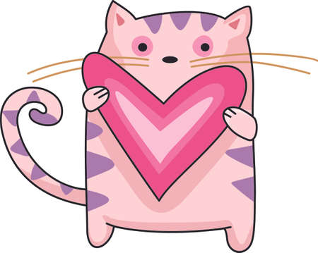 saint valentine   s day: Send a love note to your loved one.  These cute cats are perfect.  They will love it! Illustration