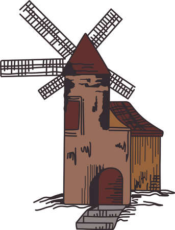 This beautiful windmill is the perfect scenery over the field.  Get these designs from Great Notions. Ilustração