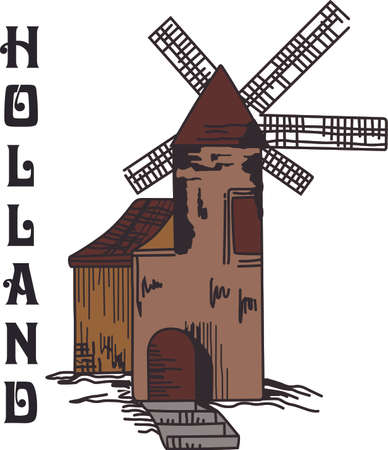 This beautiful windmill is the perfect scenery over the field.  Get these designs from Great Notions. Ilustrace