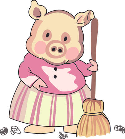 sow: This little piggy stayed home.  A cute design for the nursery. Illustration