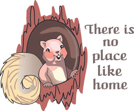There's no place like home with this cute squirrel.  The perfect house warming gift. Reklamní fotografie - 44957755