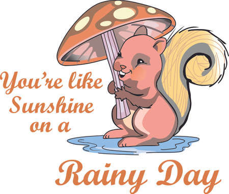 Dancing in the rain with this cute squirrel and a mushroom umbrella.  A perfect design for a toddler's room. Ilustração