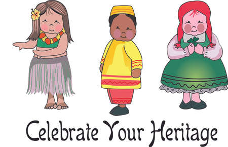 adolescent: Celebrate your heritage with these cute children of the world.  Perfect for teaching. Illustration