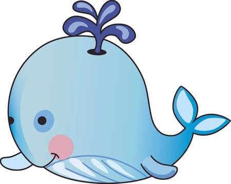 calves: This adorable baby whale is a perfect decoration for a nursery.  Give as a baby shower gift.  They will love it! Illustration