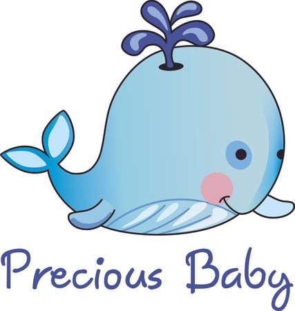 이 사랑스러운 아기 고래는 보육원을위한 완벽한 장식품입니다. 아기 샤워 선물로주세요. 그들은 그것을 좋아할 것이다! 일러스트