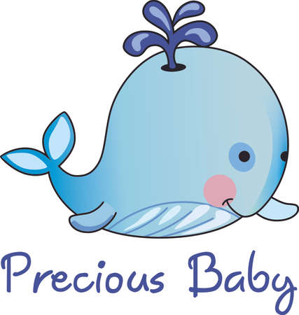 whale baby: This adorable baby whale is a perfect decoration for a nursery.  Give as a baby shower gift.  They will love it! Illustration