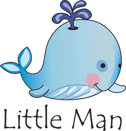 marine mammal: This adorable baby whale is a perfect decoration for a nursery.  Give as a baby shower gift.  They will love it! Illustration