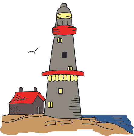 beacon: A lighthouse is a beacon of light in the dark for ships on the seas. Illustration