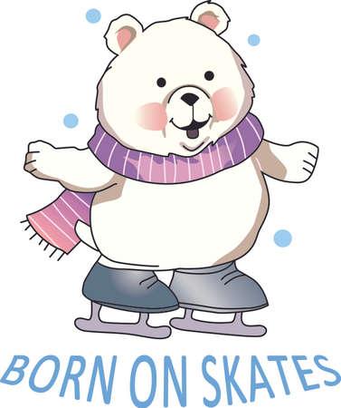 이 만화는 웃음을 가져다 줄 것입니다. 아이스 스케이트 북극곰입니다. 완벽한 겨울 디자인.