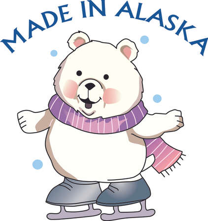 This cartoon is sure to bring a smile.  A polar bear on ice skates.  The perfect winter design.