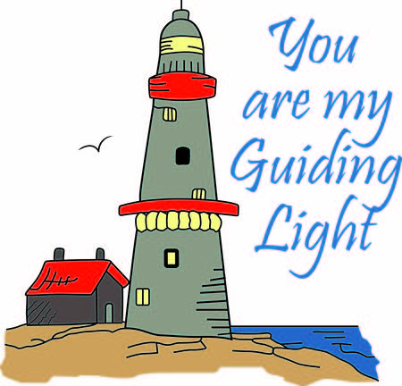 A lighthouse is a beacon of light in the dark for ships on the seas.  Ilustração
