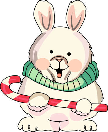 bunny xmas: Send holiday cheers with these beautiful Christmas bunny with a candy cane.