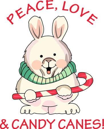 Send holiday cheers with these beautiful Christmas bunny with a candy cane.