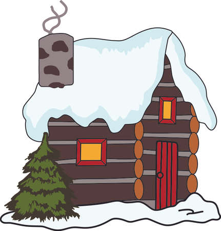 log cabin in snow: A relaxing way to spend the Christmas holidays, in a log cabin by the fire.  Use this design on your napkins. Illustration