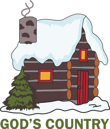 log cabin: A relaxing way to spend the Christmas holidays, in a log cabin by the fire.  Use this design on your napkins. Illustration