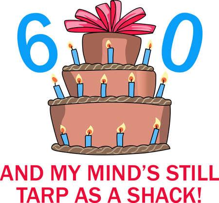 60a pastel de cumpleaños Foto de archivo - 44967173