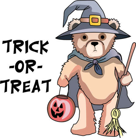 bruin: This trick or treat bear is here to wish you a happy Halloween.  Buy this as a special treat.  Your friends will love it. Illustration