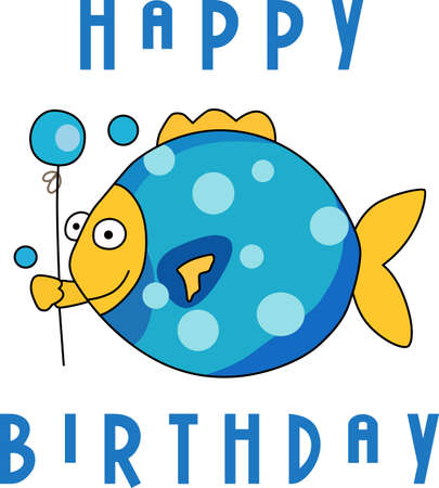 Send some birthday cheer  with this cute fish bringing a balloon.   This make a perfect for adding to your festivities.  They will love it!