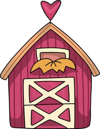 rythme: La maison de ferme de pays est un lieu de d�tente pour visiter et obtenir loin du rythme rapide de la ville. Ceci est une conception mignonne de Great notions. Illustration