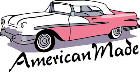 american vintage: The car is an American classic.  Take this design to the next car show.  He will love it!