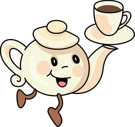 rhyme: A very good way to start the day with this cute pot and a nice warm cup of tea. Illustration