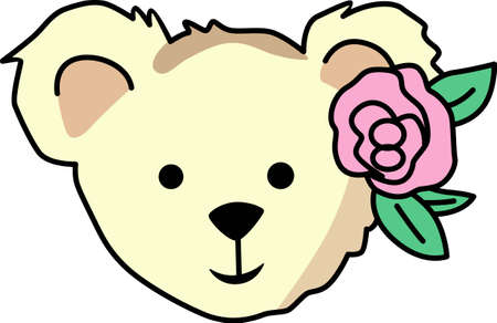 bruins: All ready for bed with her favorite teddy bear and rose.  This is the perfect design to go with her as you read a bedtime story. Illustration