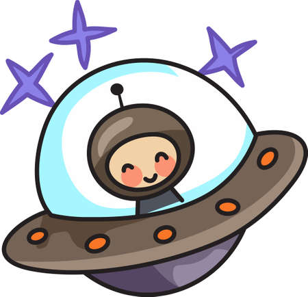 outerspace: This cute design of a martian from outer space makes the perfect gift to babys nursery.  Mom and dad will love it! Illustration