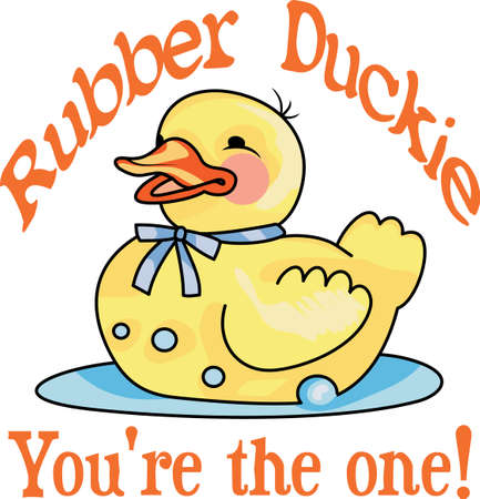 duckie: This adorable duck says quack, quack.  Send this happy duck to a child.  They will love it for bath time! Illustration