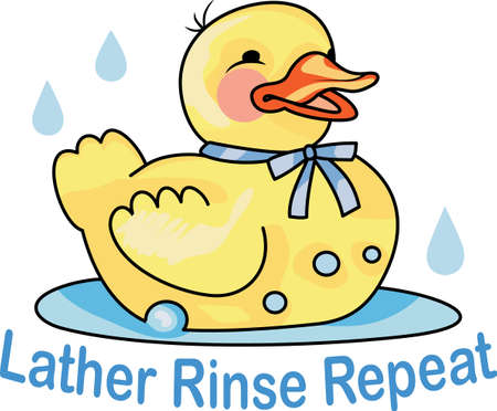 bath time: This adorable duck says quack, quack.  Send this happy duck to a child.  They will love it for bath time! Illustration