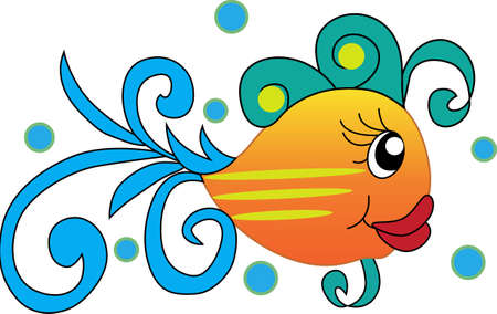 little one: This little fish goes swimming by.  Send your little one to dreamland with this cute fish.  Perfect for the nursery! Illustration