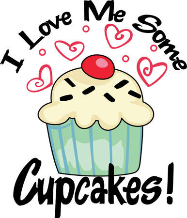 Need a unique way to say Happy Valentine's Day  Give a gift of this adorable cupcake with hearts design.  She will love it. Illusztráció